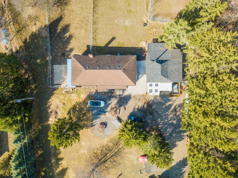 Top down view of home and garage